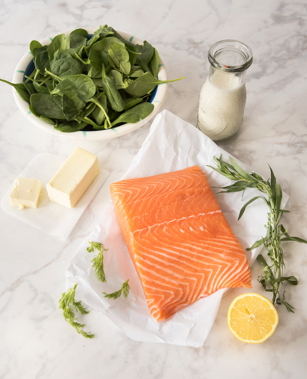 Oven Poached Salmon with Spinach Butter Sauce