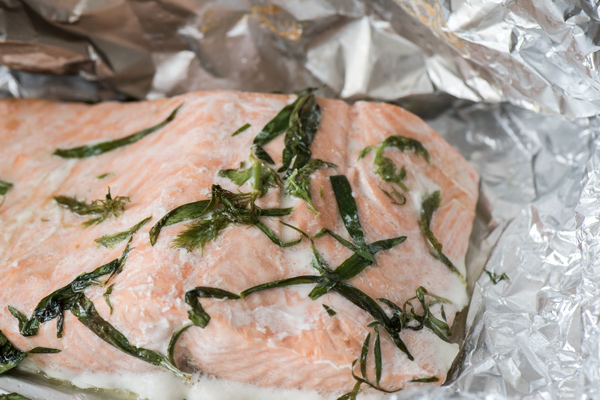 Oven Poached Salmon with Spinach Butter Sauce recipe