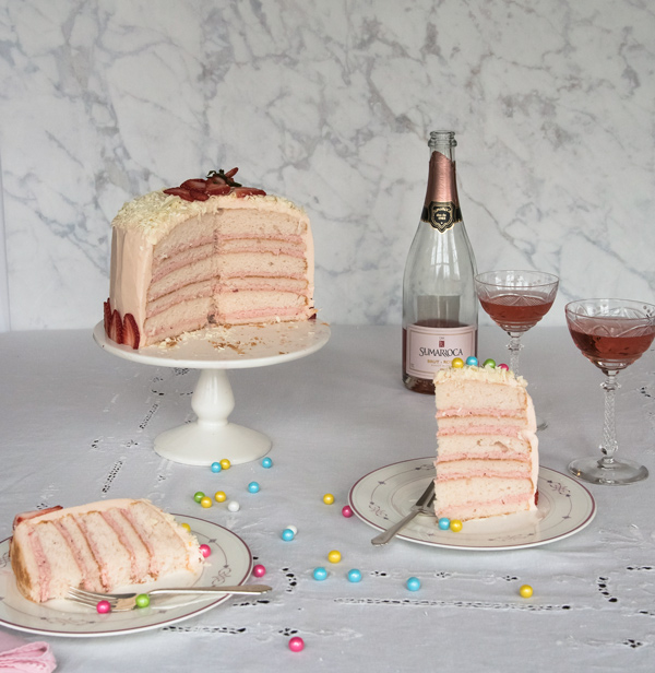Celebrate with Pink Champagne Cake recipe