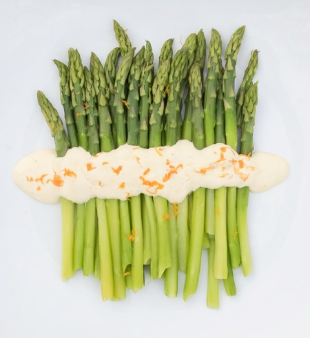 Asparagus with Orange Mayonnaise recipe with Rainbow trout