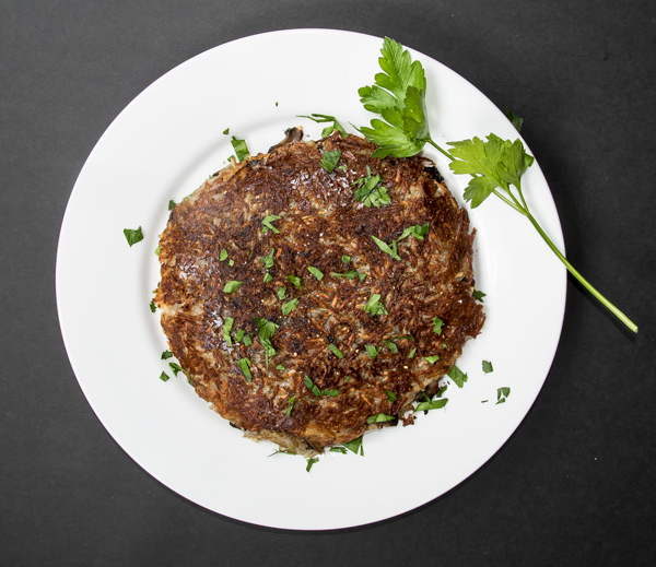 Rosti: Crispy Potato Pancake with Mushrooms and Onions