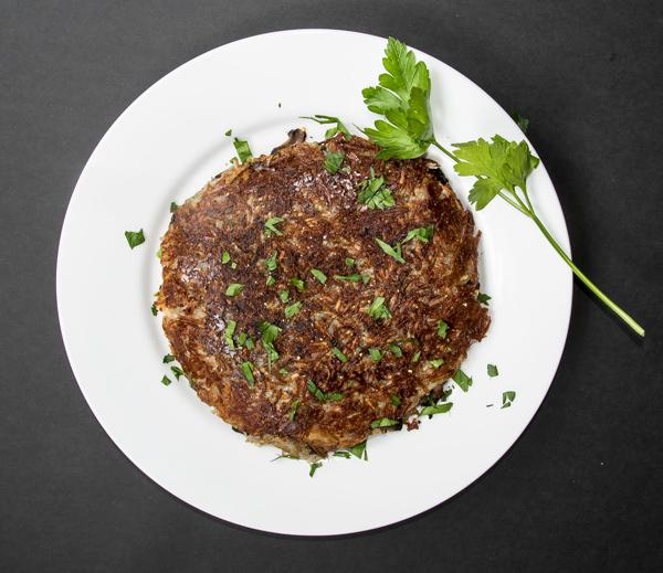 Rosti: Crispy Potato Pancake with Mushrooms and Onions