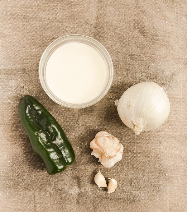 Poblano Chili Cream Sauce with Grilled Chicken recipe