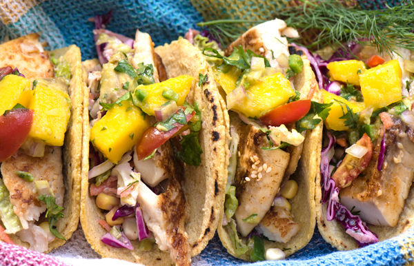 Seared Fish Taco with Mango and Avocado Salsd