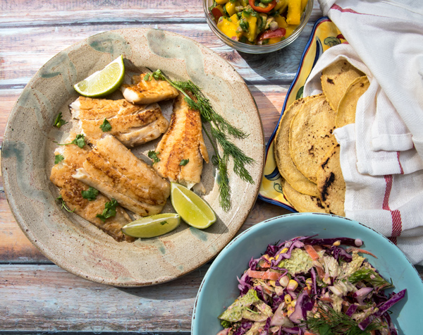 Seared Fish Tacos with Mango Avocado Salsa recipe