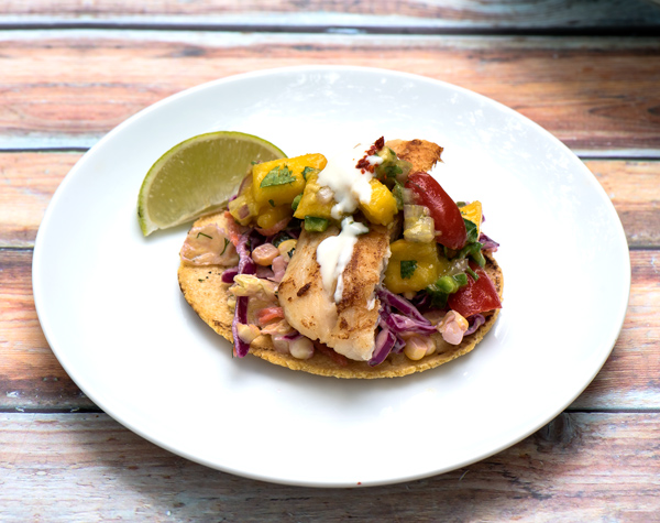 Seared Fish Taco with Mango Avocado Salsa recipe