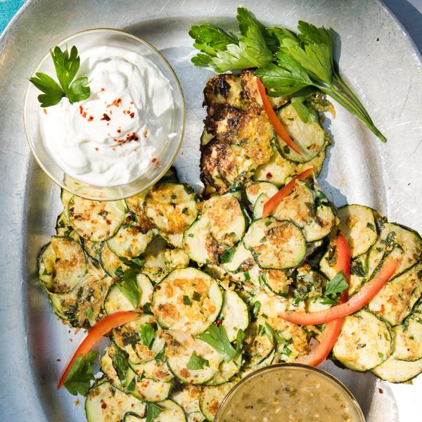 Zucchini Fritters 4 Ways recipe.