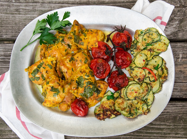 Zucchini Fritter 4 Ways, recipe.