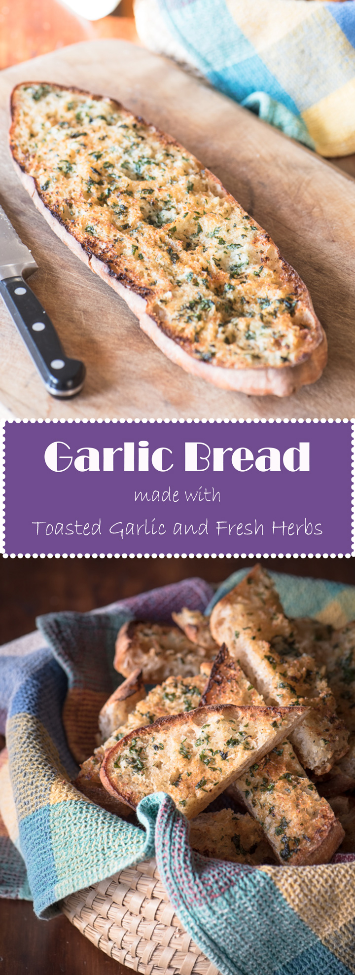 Garlic Bread with Fresh Herbs is made with good quality bread, toasted garlic, butter, Romano cheese and fresh herbs.