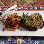 Simon & Garfunkel Encrusted Lamb Chop with Crispy Leeks