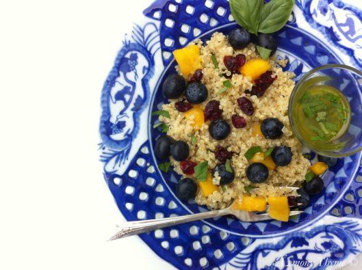 Blueberry Mango Quinoa Salad with Lemony Basil Vinaigrette