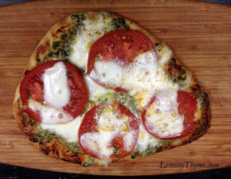 Pesto Tomato Fresh Mozarella Naan Flatbread Pizza