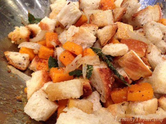 Savory Bread Pudding with Roasted Butternut Squash, Onion & Sage