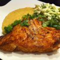 Blackened Flounder with Creamy Polenta and Brussels Sprout Slaw