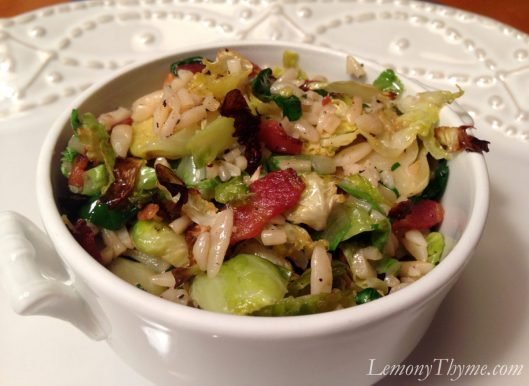 Roasted Brussels Sprouts with Orzo & Bacon