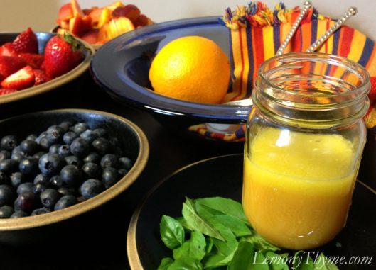 Peach, Berry & Basil Salad with Orange Vinaigrette