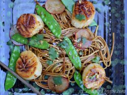Asian Noodles with Seared Sea Scallops, snow peas and sesame seeds.