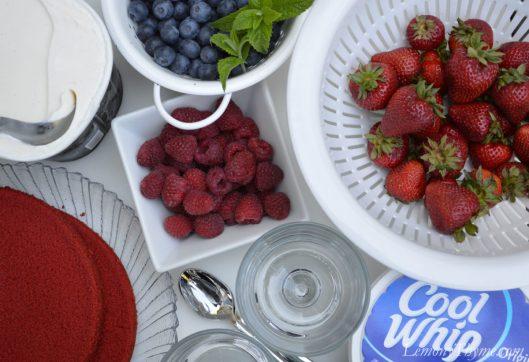 Red Velvet White & Blueberry Dessert