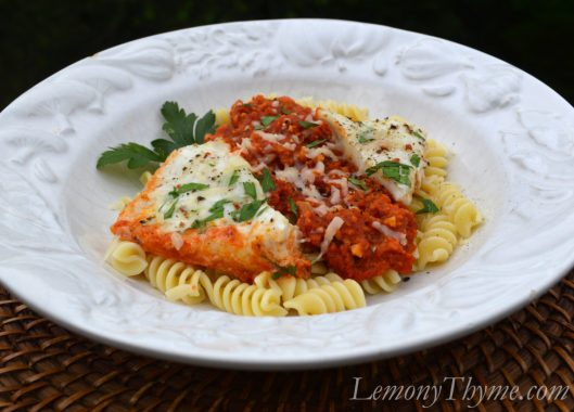Baked Halibut with Romesco Sauce