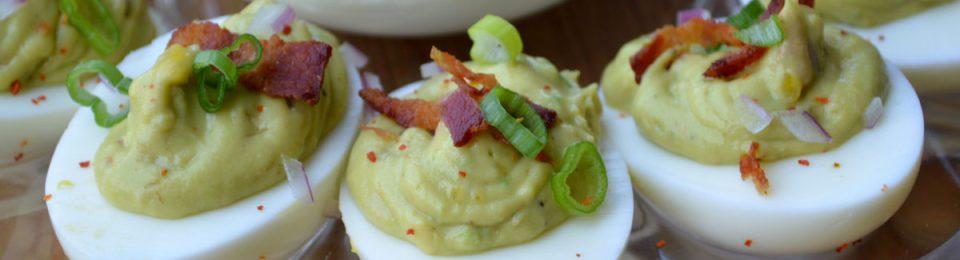 Guacamole Deviled Eggs with Crispy Bacon
