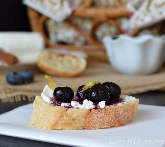 Blueberry Goat Cheese Crostini with Honey & Lemon