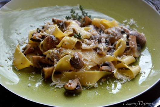 Pappardelle with Lemony Thyme Roasted Mushrooms