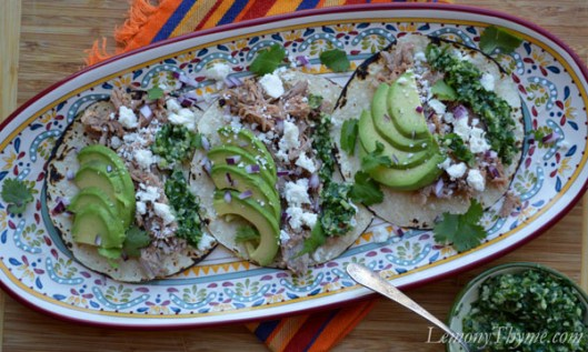 Shredded Pork Tacos with Chimichurri Sauce