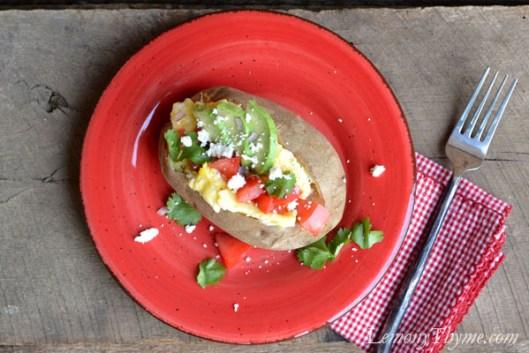 Baked Breakfast Potato {with Scrambled Eggs, Avocado, Tomato & Queso Fresco