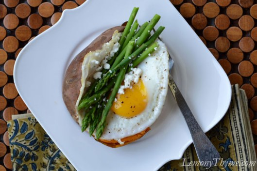 Baked Sweet Potato with Steamed Asparagus & Fried Egg
