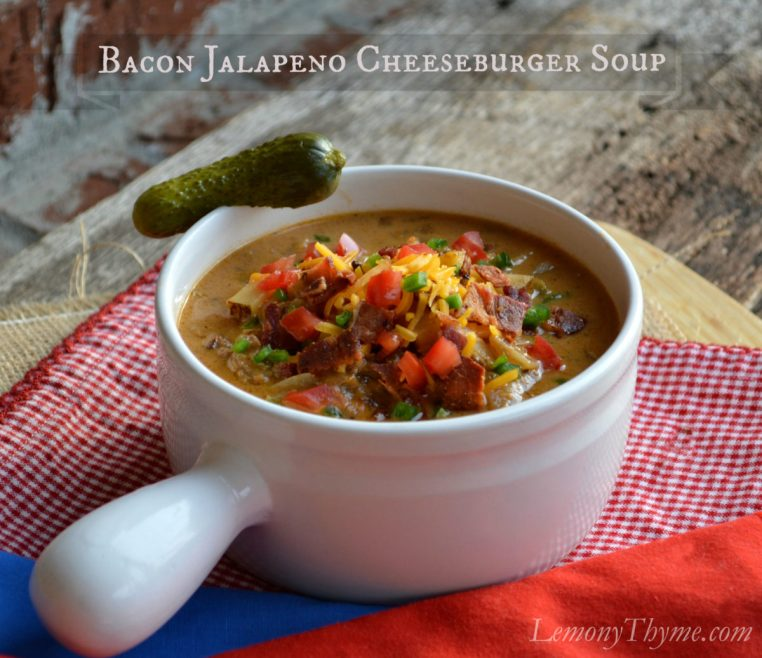 Bacon Jalapeno Cheeseburger Soup