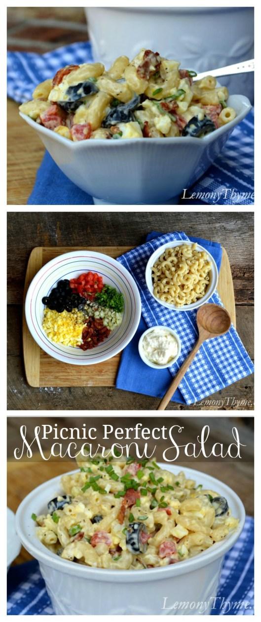Picnic Perfect Macaroni Salad | LemonyThyme.com | #picnic #bbq #pastasalad