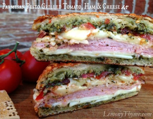 Parmesan Pesto Grilled Tomato Ham & Cheese from Lemony Thyme