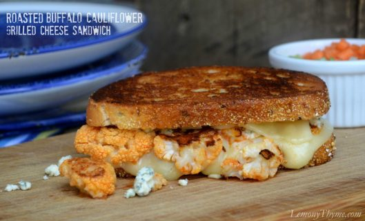 Roasted Buffalo Cauliflower Grilled Cheese from Lemony Thyme