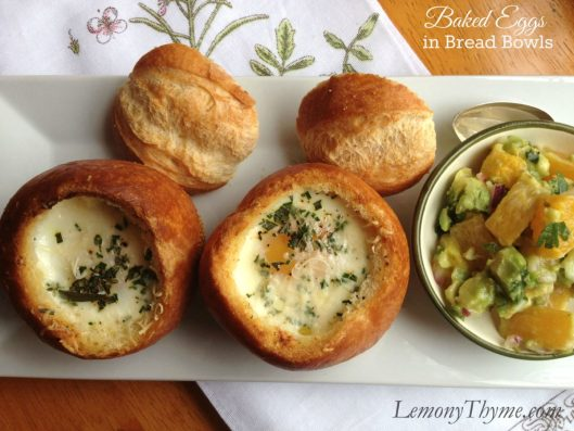 Baked Eggs in Bread Bowls from Lemony Thyme