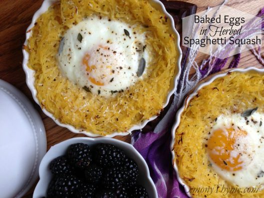 Baked Eggs in Herbed Spaghetti Squash from Lemony Thyme