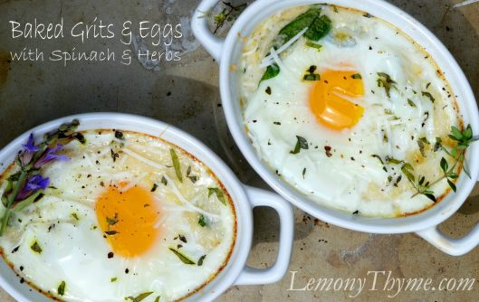 Baked Grits & Eggs with Spinach & Herbs from Lemony Thyme