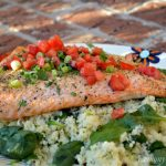 Garlic & Herb Baked Salmon over Spinach Couscous