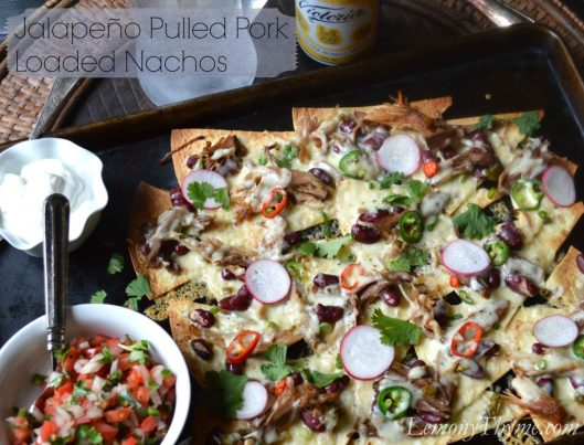 Jalapeno Pulled Pork Loaded Nachos from Lemony Thyme