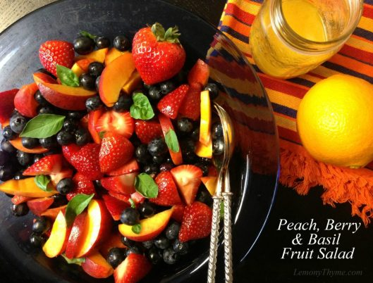 Peach Berry & Basil Fruit Salad from Lemony Thyme