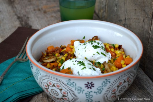 Sweet Potato & Bacon Hash with Poached Eggs2