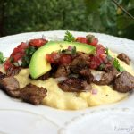 Marinated Beef Tips on Jalapeno Corn Grits