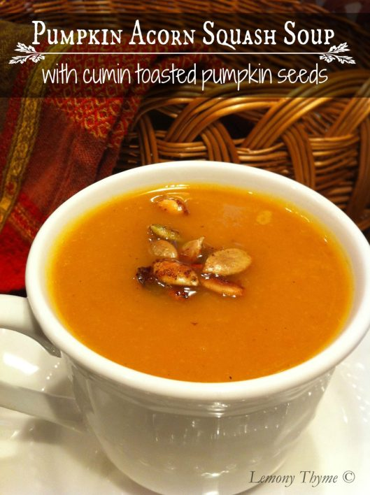 Pumpkin Acorn Squash Soup with Cumin Toasted Pumpkin Seeds