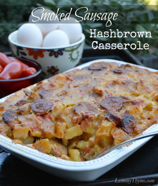 Smoked Sausage Hashbrown Casserole LemonyThyme.com