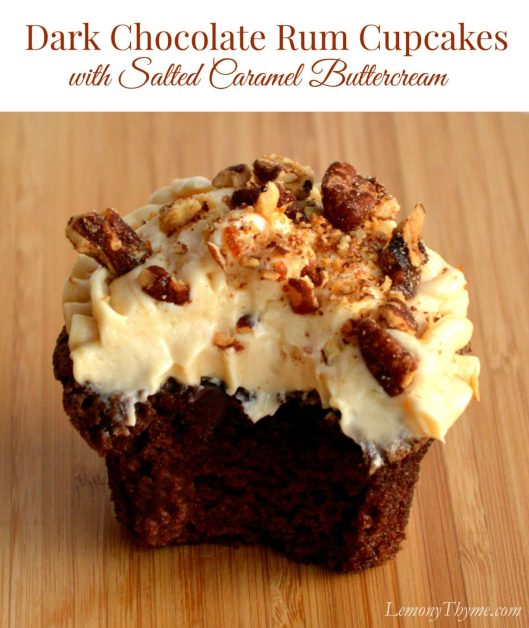 Dark Chocolate Rum Cupcakes with Salted Caramel Buttercream | LemonyThyme.com | #cupcakeday