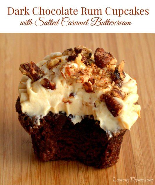 Dark Chocolate Rum Cupcakes with Salted Caramel Buttercream   LemonyThyme.com   #cupcakeday