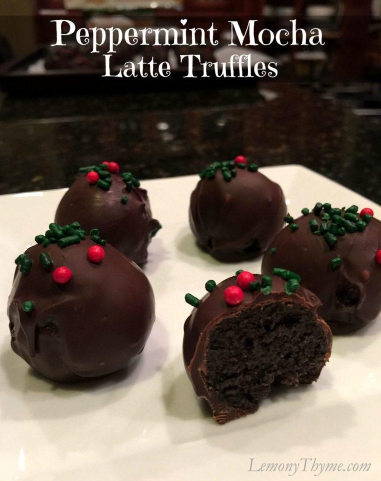 Peppermint Mocha Latte Truffles | LemonyThyme.com | #holiday #baking