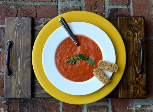 Cream of Tomato Soup with Basil Pesto & Mozzarella Dunkers2