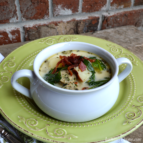 Sausage & Potato Soup with Spinach & Bacon