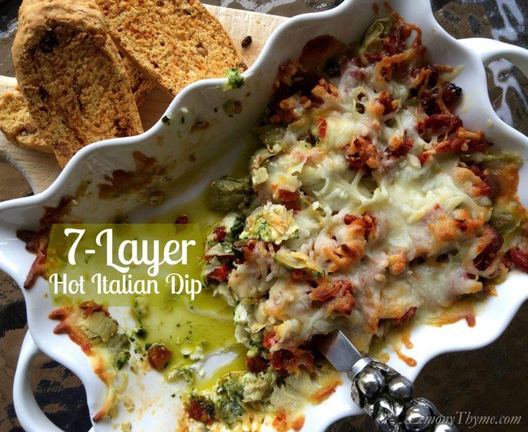 7 Layer Hot Italian Dip | LemonyThyme.com | #gameday