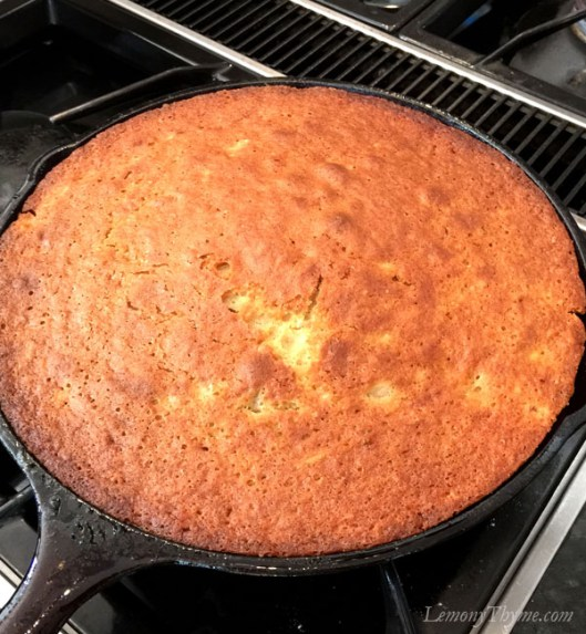 Banana Upside Down Cake hot from the oven.